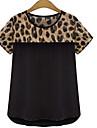 Tee-shirt Femme,Motif Animal Decontracte / Quotidien / Grandes Tailles simple Ete Manches Courtes Col Arrondi Blanc / Noir Polyester Fin