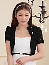 Wedding Wraps Short Sleeve Lace/Polyester Fashion Lace Flower Boleros Black/White/Beige Bolero Shrug