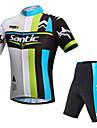 SANTIC® Cykeltröja med shorts Herr Kort ärm Cykel Andningsfunktion UV-Resistent ReflexremsaCykeltröja + shorts Vadderade shorts