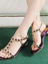 Zapatos de mujer - Tacon Robusto - Comfort / Tira en T - Sandalias - Boda / Casual / Fiesta y Noche - Cuero - Azul / Morado / Plata