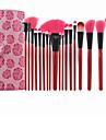 18 pcs professionnels ont augmente de pinceaux de maquillage rouge brosse cosmetique de maquillage kit marque pinceau de maquillage avec