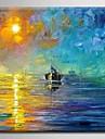 HANDMÅLAD LandskapModerna / Medelhavet / Europeisk Stil En panel Kanvas Hang målad oljemålning For Hem-dekoration
