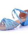 Chaussures de danse(Bleu Multicolore) -Non Personnalisables-Talon Bas-Satin Synthetique-Latine Flamenco Samba Salsa