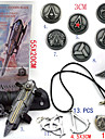 Assassin\'s Creed Ezio Pirate Hidden Blade Gauntlet Cosplay Accessories (+Alloy Ring Badge Necklace Key Buckle 11Pcs Set)