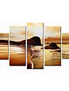 handmålade konstväggdekor modern konst solnedgången på stranden oljemålning på duk 5st / set (utan ram)