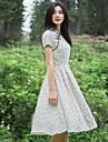 TS Vintage/Sexy/Casual/Cute/Work/Maxi Micro-elastic Short Sleeve Knee-length Dress (Linen)