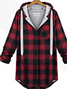 Women\'s Plaid Red/Gray Hoodies , Casual/Plus Sizes Hooded Long Sleeve Pocket