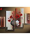 Hand-Painted Vintage Vase Flowers Oil Painting on Canvas  4pcs/set No Frame
