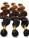 """3st mycket 12 """"-24"""" eurasian hår ombre tre ton färg T1B / 4/30 vågigt hår väver / buntar"""