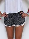 Damă Drăguț Talie Medie,Micro-elastic Blugi Pantaloni Ciucure Imprimeu