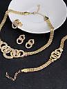 Seturi de bijuterii Cercei Brățară Bijuterii Statement Vintage Zirconiu Cubic Circle Shape Auriu Coliere Σκουλαρίκια Inele Brățară Pentru