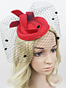 Women Satin/Net British Style Dots Hats/Birdcage Veils With Wedding/Party Headpiece Black/Red