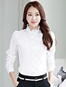 Mulheres Camisa Formal Simples Verao,Solido / Jacquard Branco Colarinho Chines Manga Longa Fina