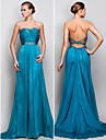 Formal Evening/Military Ball Dress - Pool Plus Sizes A-line/Princess Strapless Floor-length Crepe