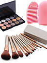 12st kosmetiska makeup verktyg rouge foundationborste box + 15colors skimmer ögonskugga palett + 1st borste rengöringsverktyg