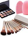 12Pcs Cosmetic Makeup Tool Blush Foundation Brush Set Box +15Colors Shimmer Eyeshadow Palette+1PCS Brush Cleaning Tool