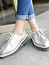 Pantofi pentru femei - Imitație de Piele - Toc Jos - Vârf Pătrat - Oxford - Birou & Carieră / Casual - Negru / Alb / Argintiu