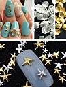 150pcs taille mixte art or, argent, etoile de mer coque metallique rivet ongles decorations