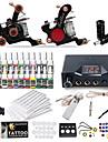 dragonhawk® komplett tattoo kit 2 maskin 20 färgbläck strömförsörjning
