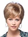 Capless mix färg extra kort hög kvalitet naturliga lockigt hår syntetisk peruk med sidan