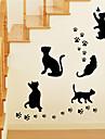 style Stickers muraux autocollants de mur noir chat muraux PVC autocollants