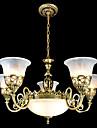 brons ljuskronor sju-lampor moiré-glas europeiska retroklassiker 220v