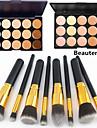 8pcs punho preto dourado maquiagem cosmeticos conjunto de pincel&15 cores corretivo natural (2 cor corretivo escolher)
