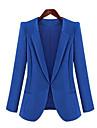 Mulheres Blazer Outono,Solido Azul / Preto Manga Longa Media