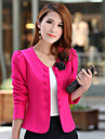 Women\'s Fall Blazer,Solid Round Neck Long Sleeve Pink / Red / White / Black Others Medium