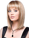 kvinnor lady medellång syntetiskt hår peruker blond mix