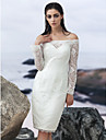 Sheath/Column Wedding Dress - Ivory Knee-length Off-the-shoulder Lace