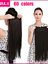 24Inch 5Clips Long Straight Heat Resistant Synthetic Hair Piece Natural Hair Extension 666
