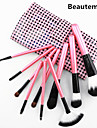 10pcs professionale pelo di capra rosa manico set pennello con il colore rosa caso plaid colore cute