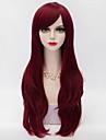 70cm långa lager lockigt hår med sido bang mörkröd värmebeständiga syntet harajuku lolita kvinnor peruk
