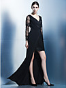 Coloană / Teacă Gât V Asimetric Șifon Dantelă Seară Formală Rochie cu Dantelă Drapat Părți de TS Couture®