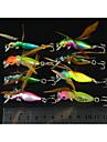 8 Pcs Hengjia Plastic Hard Fishing Lures 4.5CM 3.4G Crankbait 10#Hooks with Wings Feathers
