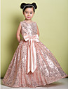 Lanting Bride A-line Floor-length Flower Girl Dress - Sequined Sleeveless Jewel with Bow(s) / Sequins