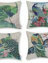 gröna påfågeln mönstrad bomull / linne dekorativa örngott (17 * 17 tums)