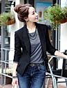 Women\'s Libo New Fashion Office Lady Deep V Coat, Cotton Blends ¾ Sleeve Black