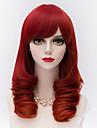 cheveux boucles milieu de la mode a long crepus avec bang cote synthetique rouge harajuku lolita perruque de parti