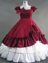 One-piece/Klänning Gotisk Lolita Steampunk® Cosplay Lolita-klänning Röd Lappverk Vintage Ärmlös Lång längd Klänning För DamBomull Spets