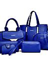 Femme Polyurethane Formel Decontracte Bureau & Travail Shopping Sac a Bandouliere Cabas Ensembles de SacBlanc Violet Bleu Jaune Rouge