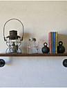 industriella loftstil smidesjärn vägghylla badrumshyllan vintage trä vägg vattenledning rack-Z19