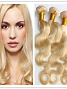 3pcs / lot # 613 gebleichte blonde brasilianische Menschenhaarkoerperwelle Jungfrau Haar spinnt wellenfoermige