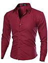 Lång ärm - Casual Skjortor ( Bomull / Polyester )till MÄN Skjortkrage - Casual / Arbete