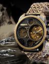 Oulm Bărbați Ceas Militar Ceas de Mână Zone Duale de Timp Quartz Quartz Japonez Oțel inoxidabil Bandă Luxos Negru Bronz Roz auriu