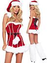 Retour a lacets costume de Noel est rouge fourrure femmes de robe