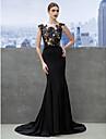TS Couture Evento Formal Vestido - Frente Unica Sereia Decote em U Cauda Corte Microfibra Jersey com Apliques