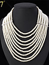 U7® Women\'s Multilayer Strand Necklaces Clear Rhinestone Luxurious Creamy White Synthetic Pearls Statement Necklace