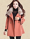 Women\'s Solid Red / Black / Gray Trench Coat , Casual Long Sleeve Cotton / Polyester